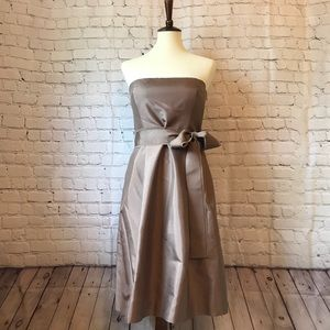 Strapless Taupe Party Dress